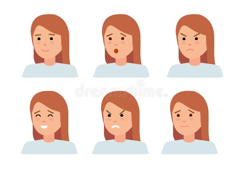 Reeks vrouwelijke gezichtsemoties Het karakter van vrouwenemoji met verschillende uitdrukkingen vector illustratie