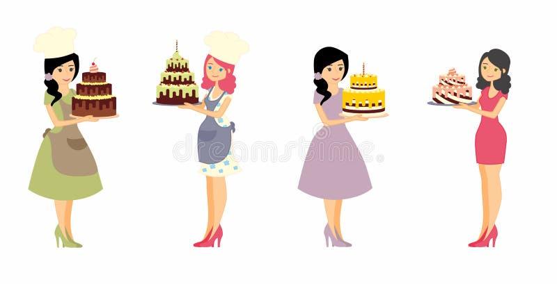Reeks vrouwelijke karakters met een cake Mooie huisvrouw, vrouwen hoofdbakker die een heerlijke pastei houden royalty-vrije illustratie