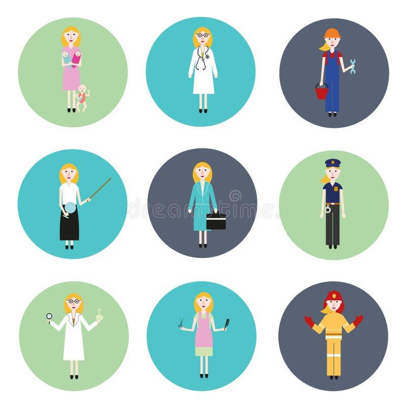 Reeks vrouwen van verschillende beroepen stock illustratie