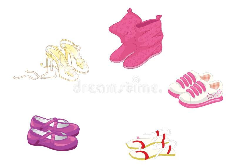 Reeks in vrouwens schoenen royalty-vrije illustratie