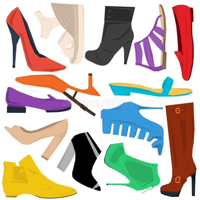 Reeks vrouwenschoenen in vlakke stijl royalty-vrije illustratie