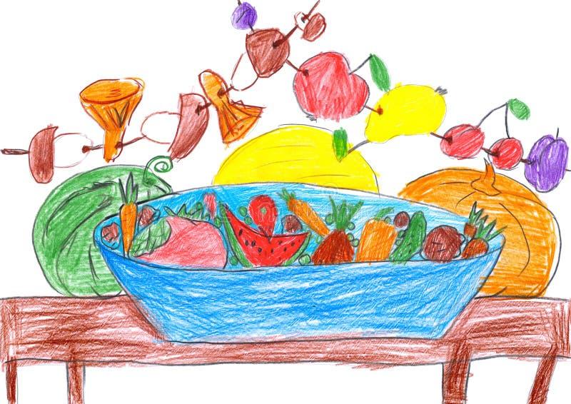 Reeks vruchten en groenten, illustratie die, potlood op papier trekken vector illustratie
