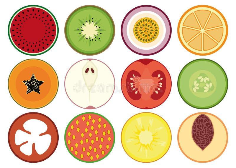 Reeks vruchten en groenten stock illustratie