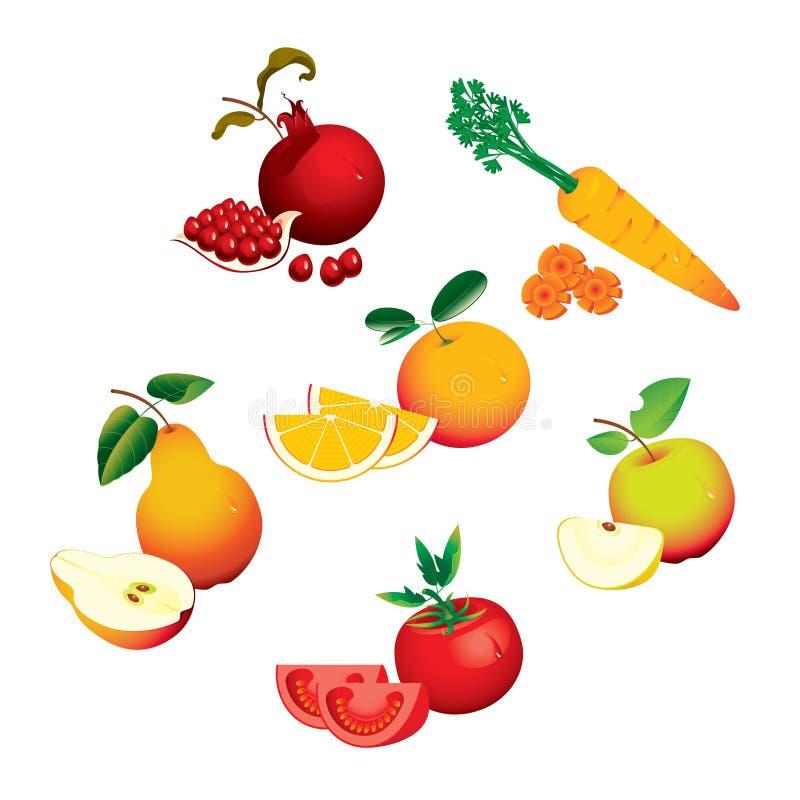 Reeks vruchten groenten royalty-vrije illustratie