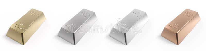 Reeks waardevolle die metalenbaren op wit wordt geïsoleerd. royalty-vrije illustratie