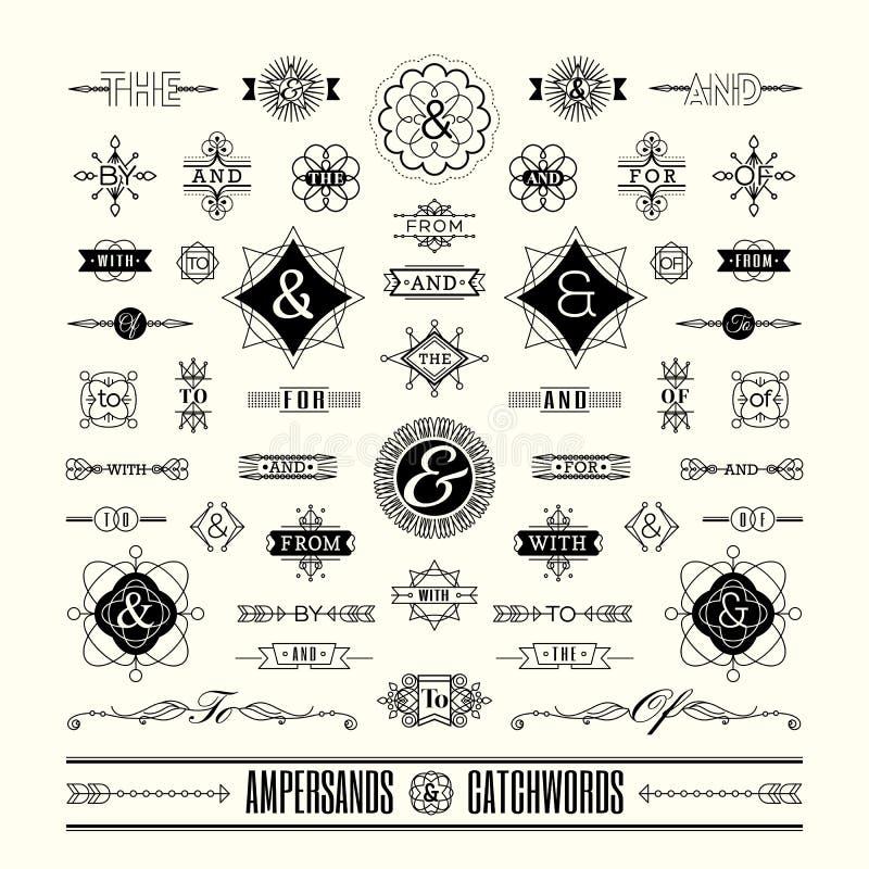 Reeks wachtwoorden ampersands in geometrisch het art deco retro uitstekend kader van de lijnvorm vector illustratie