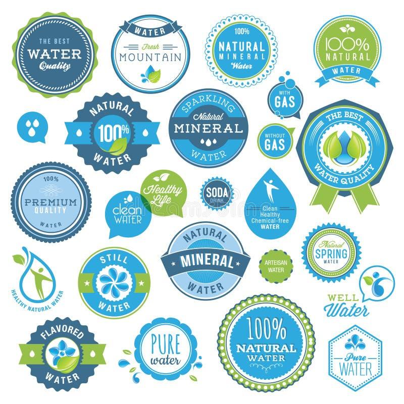 Reeks waterkentekens en stickers vector illustratie