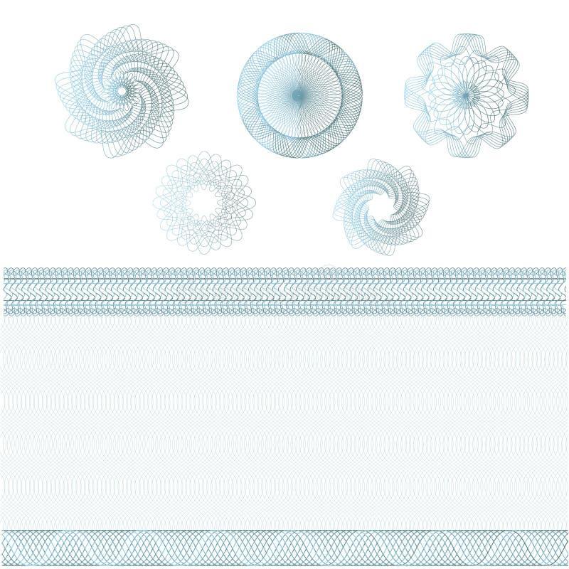 Reeks watermerken en grenzen Guilloche patroon voor bankbiljet, diploma, certificaat, munt, bon, geldontwerp Guilloche royalty-vrije stock foto's