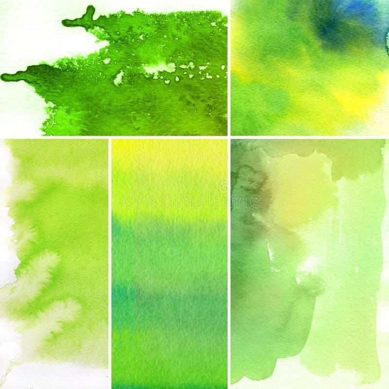 Reeks waterverf abstracte achtergronden royalty-vrije illustratie