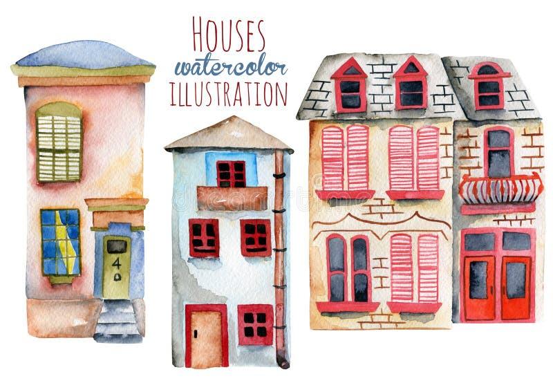 Reeks waterverf Engelse huizen stock illustratie