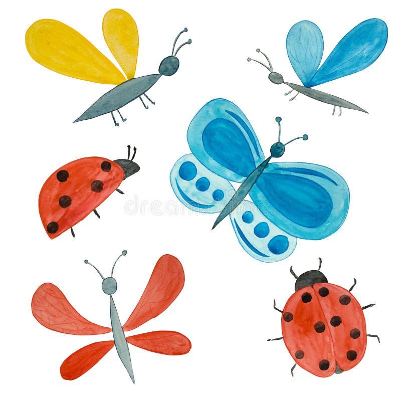 Reeks Waterverf heldere insecten Met de hand gemaakte getrokken vlinders, lieveheersbeestjes, midges royalty-vrije illustratie