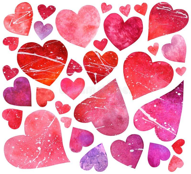 Reeks waterverf rode en roze die harten op de witte rug worden geïsoleerd stock afbeelding