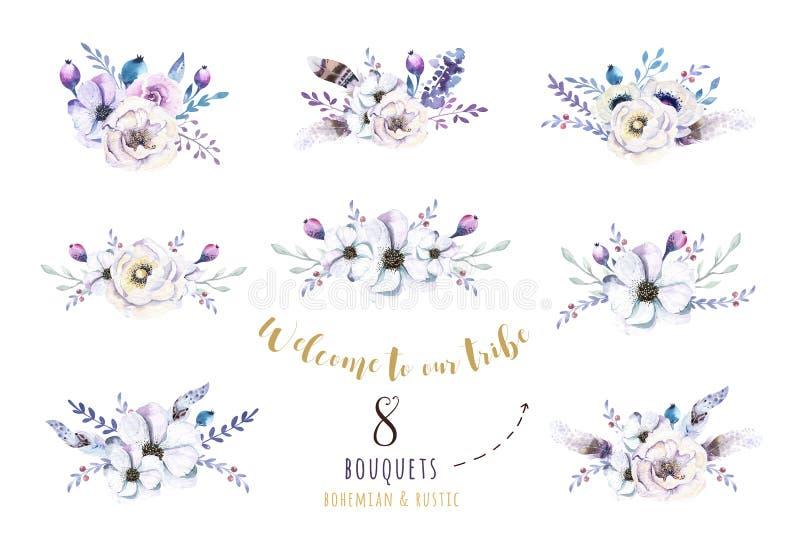 Reeks waterverf uitstekende bloemenboeketten, vogel met veer BO vector illustratie