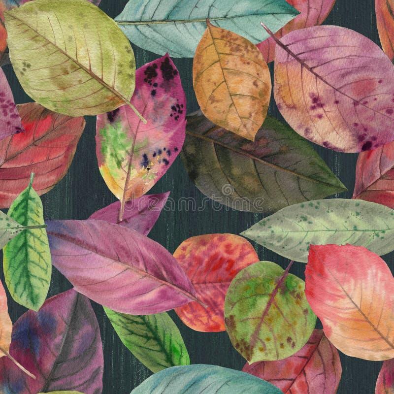 Reeks waterverfbladeren Naadloos patroon royalty-vrije illustratie