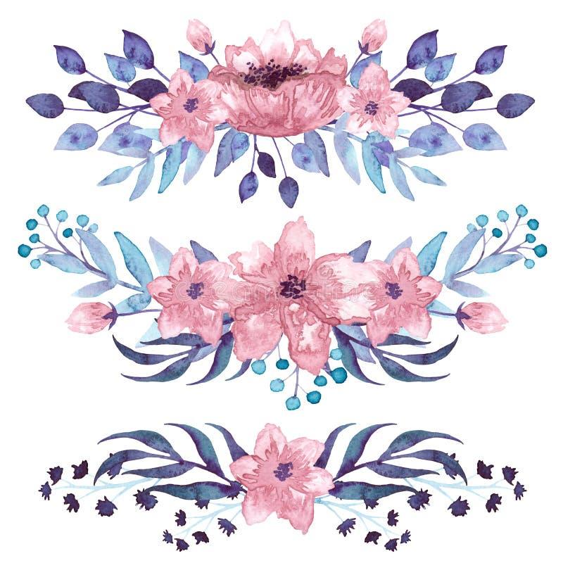 Reeks Waterverfboeketten met Roze Bloemen vector illustratie