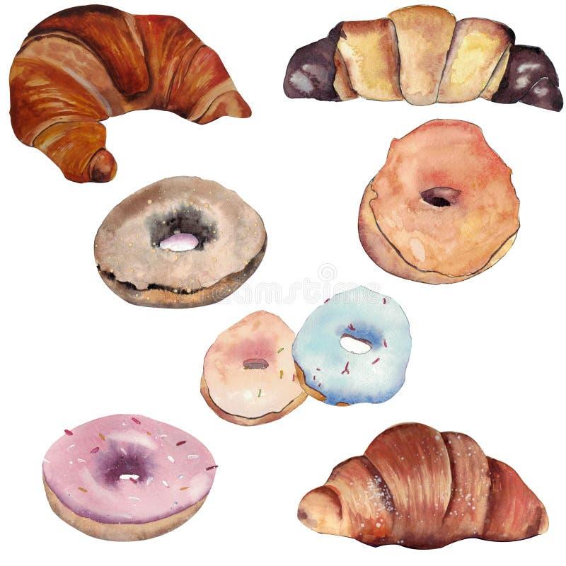Reeks waterverfcroissants en donuts geïsoleerd op witte achtergrond vector illustratie