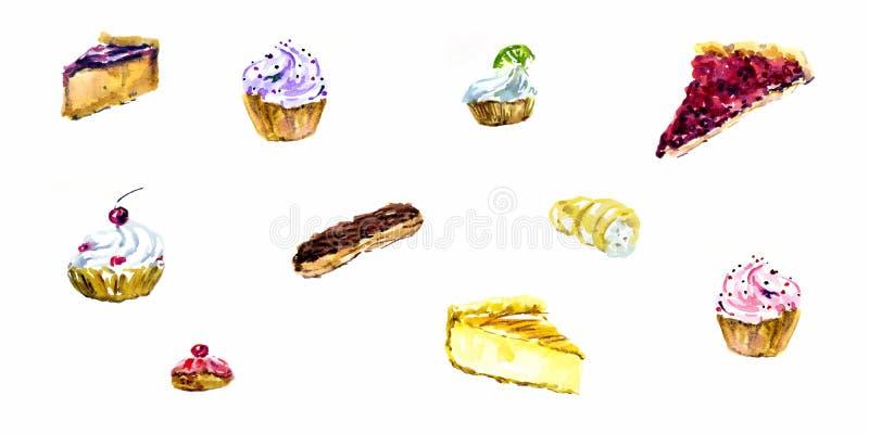 Reeks waterverfdesserts Muffins, cupcakes, profiteroles, eclairs, kaastaart, cake, koekje vector illustratie