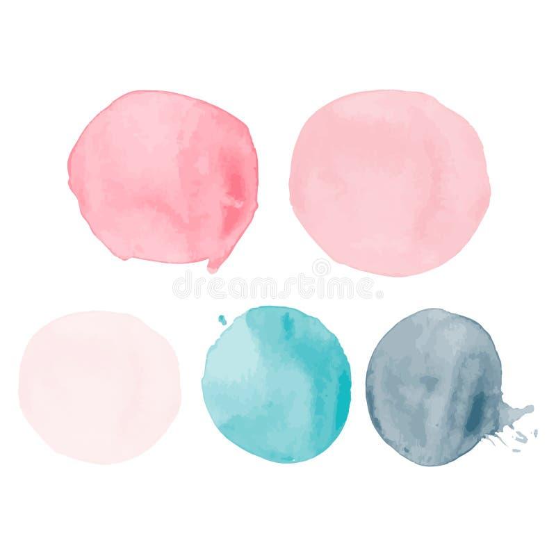 Reeks waterverfvormen Waterverfvlekken De reeks van kleurrijke die waterverfhand schilderde cirkel op wit wordt geïsoleerd stock illustratie