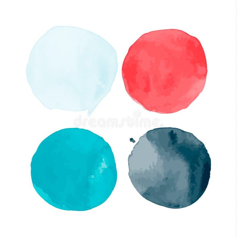 Reeks waterverfvormen Waterverfvlekken De reeks van kleurrijke die waterverfhand schilderde cirkel op wit wordt geïsoleerd vector illustratie