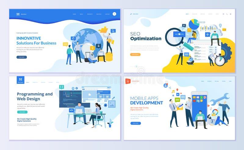 Reeks Web-pagina ontwerpmalplaatjes voor SEO, mobiele apps, bedrijfsoplossingen stock illustratie