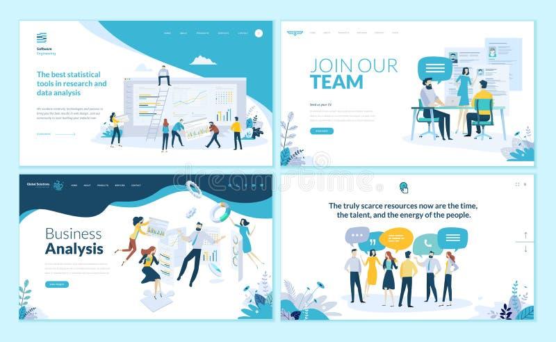 Reeks Web-pagina ontwerpmalplaatjes voor zaken app, gegevensanalyse, carrière, mededeling, groepswerk vector illustratie