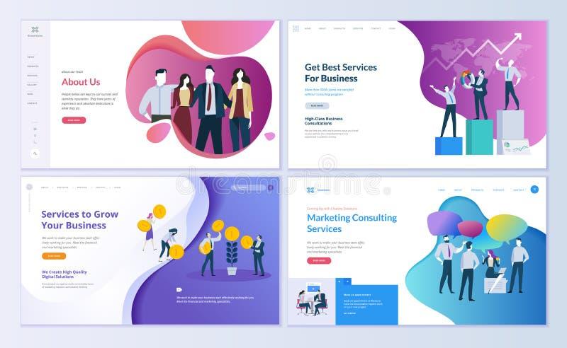 Reeks Web-pagina ontwerpmalplaatjes voor zaken, financiën en marketing royalty-vrije illustratie