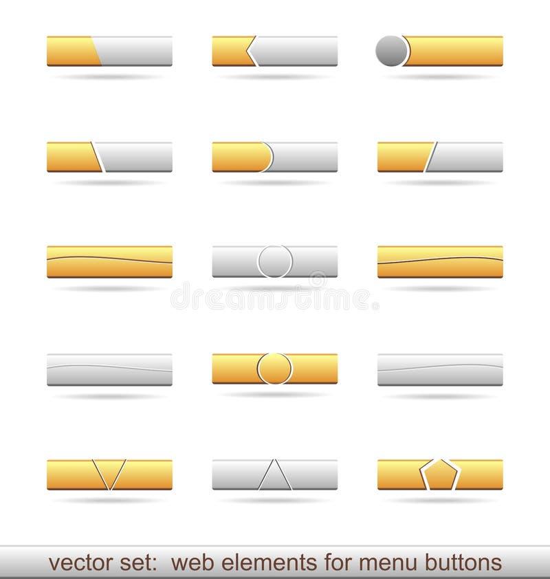 Reeks Webelementen voor menuknopen stock illustratie