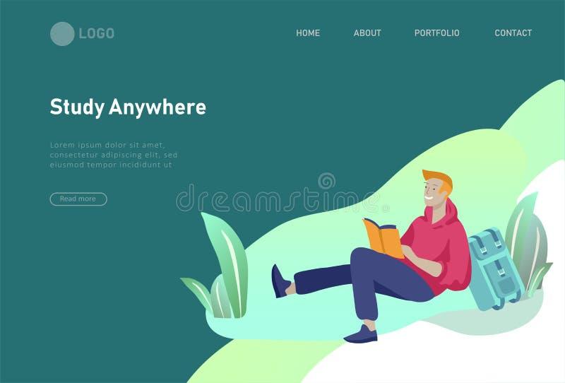 Reeks webpaginaontwerpsjablonen met ontspannen lerende mensen openlucht voor online onderwijs, opleiding en cursussen modern vector illustratie