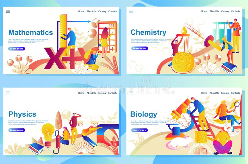 Reeks webpaginaontwerpsjablonen voor onderwerp in school wiskunde, chemisry, fysica en biologie stock illustratie