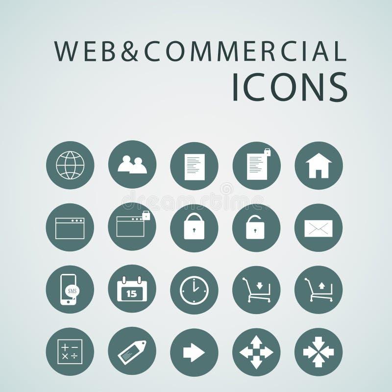 Reeks Webpictogrammen voor zaken, financiën en mededeling stock illustratie