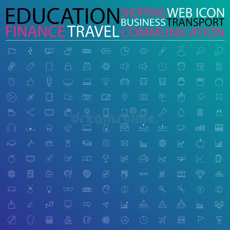 Reeks Webpictogrammen voor zaken, financiën, mededeling, transporta stock illustratie