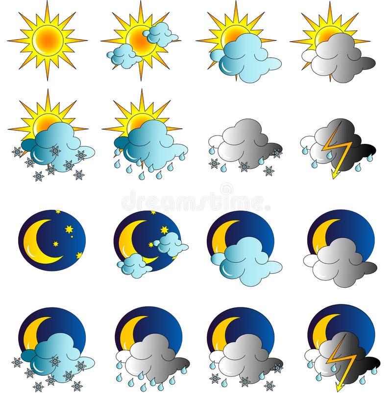 Reeks weerpictogrammen vector illustratie