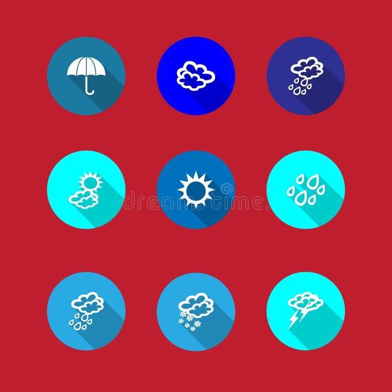 Reeks weerpictogrammen in een vlak ontwerp royalty-vrije illustratie