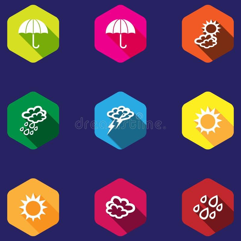 Reeks weerpictogrammen in een vlak ontwerp stock illustratie