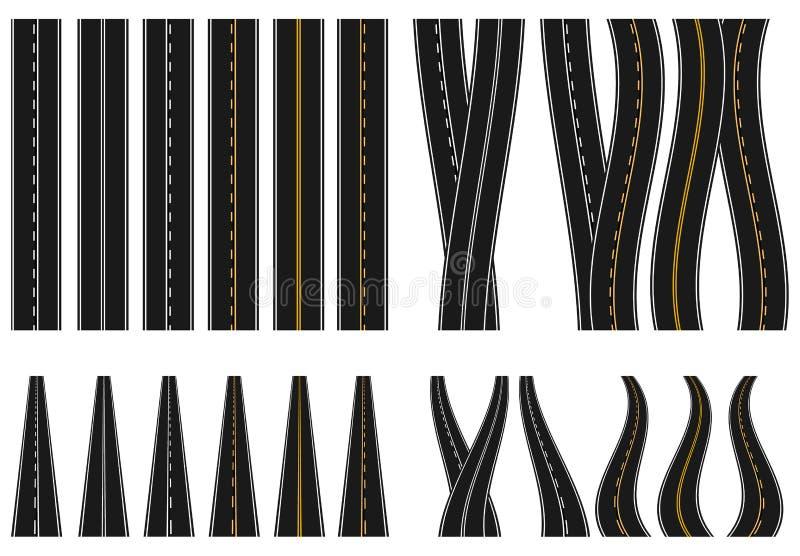 Reeks wegen met diverse witte en gele tekens op een witte achtergrond Mening vanuit hierboven en in perspectief prijsverhoging vector illustratie