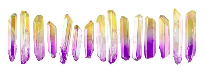 Reeks weinig die kristalhalfedelstenen op witte achtergrond wordt geïsoleerd royalty-vrije stock fotografie