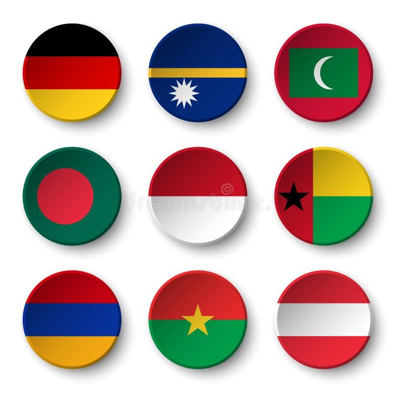 Reeks wereldvlaggen om kentekens Duitsland navigatie maldives bangladesh indonesië Guinea-Bissau armenië Burkina Faso A vector illustratie