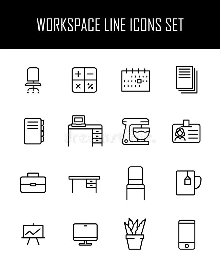 Reeks werkruimtepictogrammen in moderne dunne lijnstijl stock illustratie