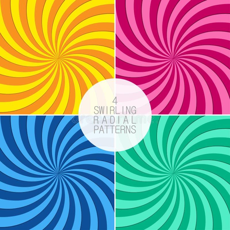 Reeks wervelende radiale patronen Achtergrond met wervelingsstralen Draaikolkstralen Vector stock illustratie