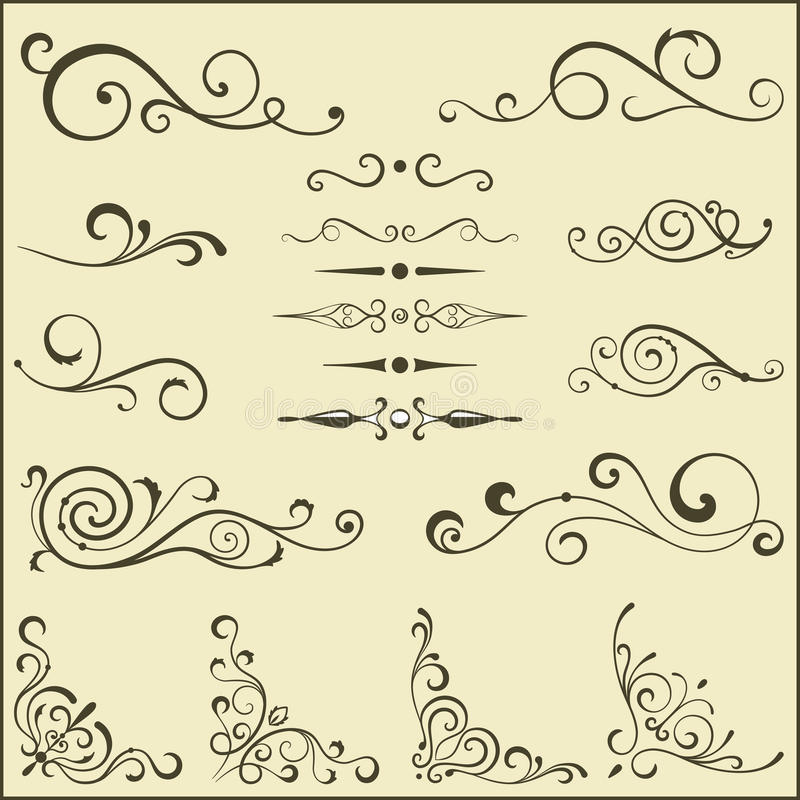 Reeks wervelingselementen voor ontwerp. vector illustratie