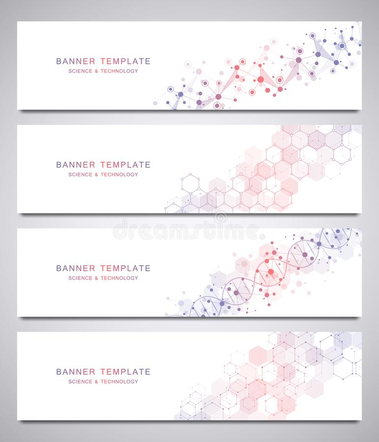 Reeks wetenschappelijke en technologische vectorbanners Abstracte achtergrond met moleculaire structuren stock illustratie