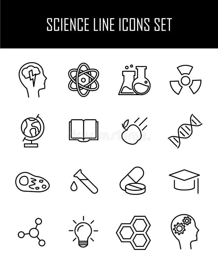 Reeks wetenschapspictogrammen in moderne dunne lijnstijl stock illustratie