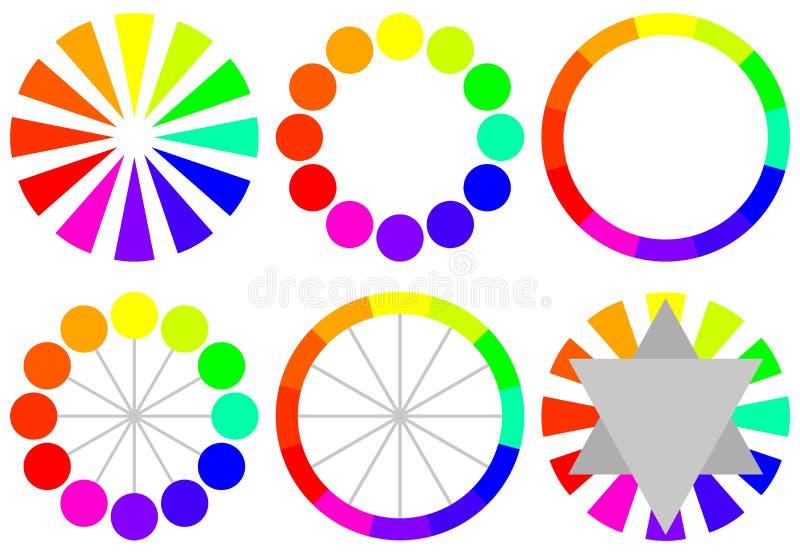 Reeks Wielen van de Kleur stock illustratie