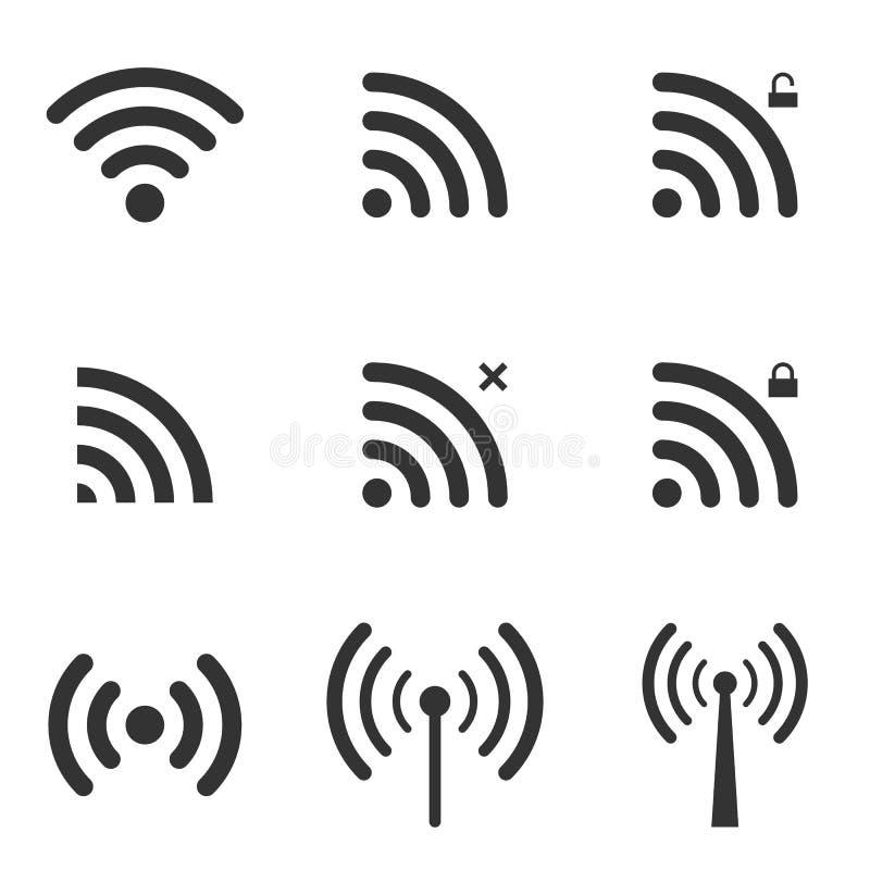 Reeks WiFi en Draadloze Pictogrammen WiFi-Streekteken Verre Toegang A royalty-vrije illustratie