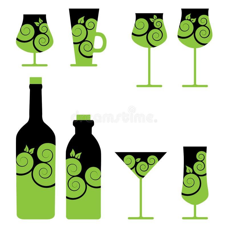 Reeks wijn en cocktailglazen royalty-vrije illustratie