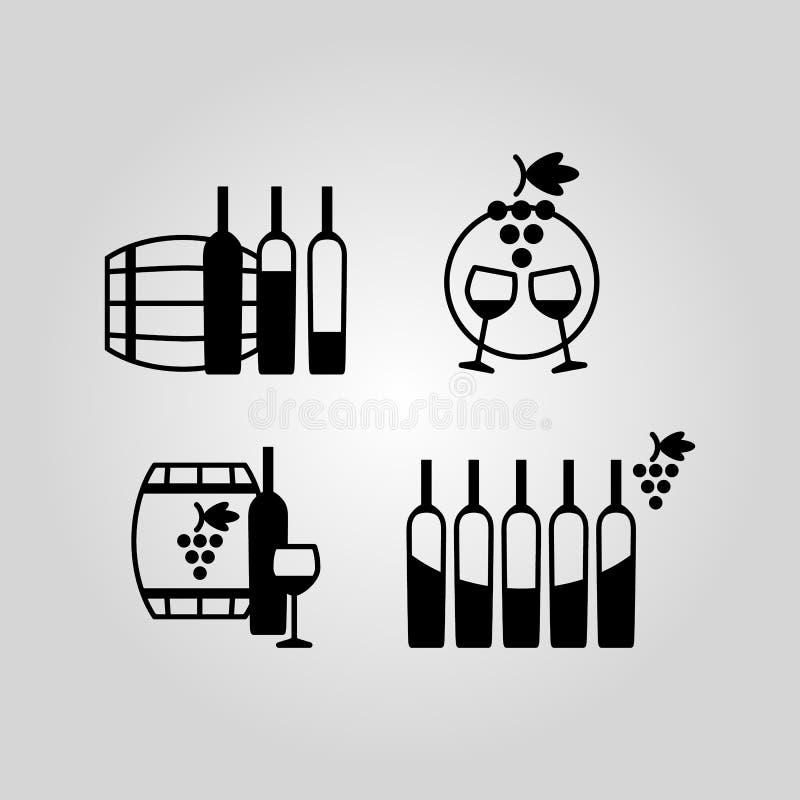 Reeks wijn vlakke zwarte pictogrammen, symbolen, tekens en ontwerpelementen vector illustratie
