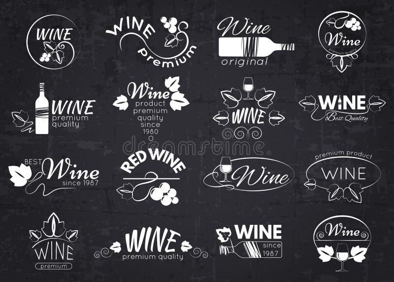 Reeks wijnetiketten, kentekens en emblemen voor ontwerp stock foto
