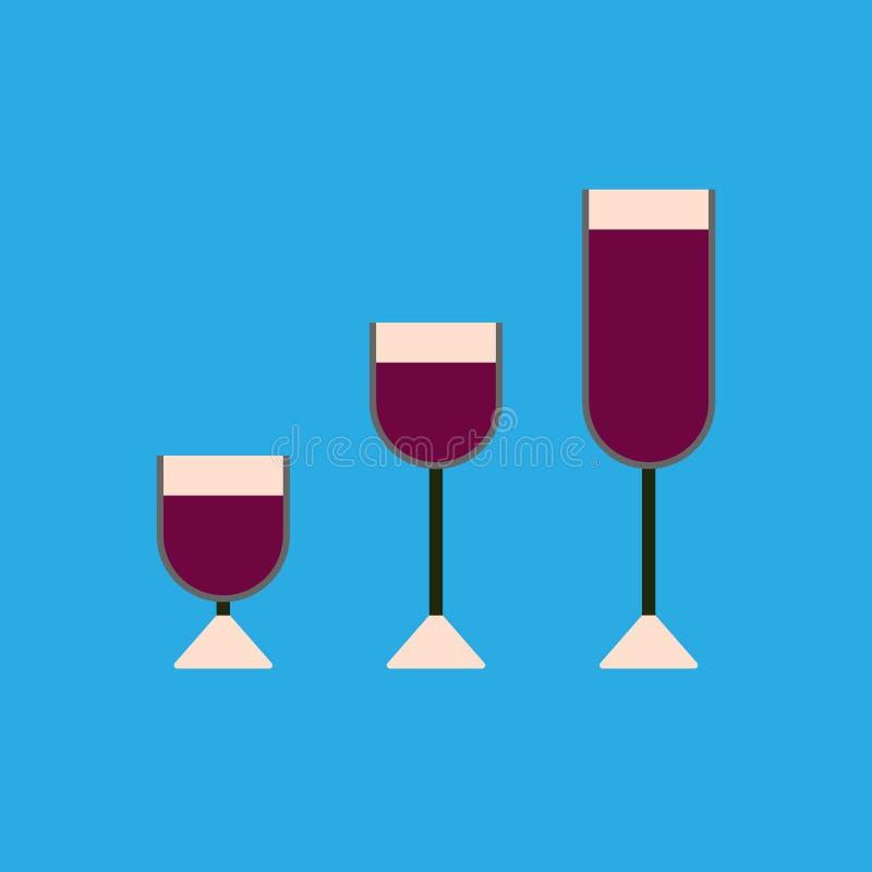 Reeks wijnglazen voor alcoholdranken op een blauwe achtergrond Moderne vlakke stijl stock illustratie