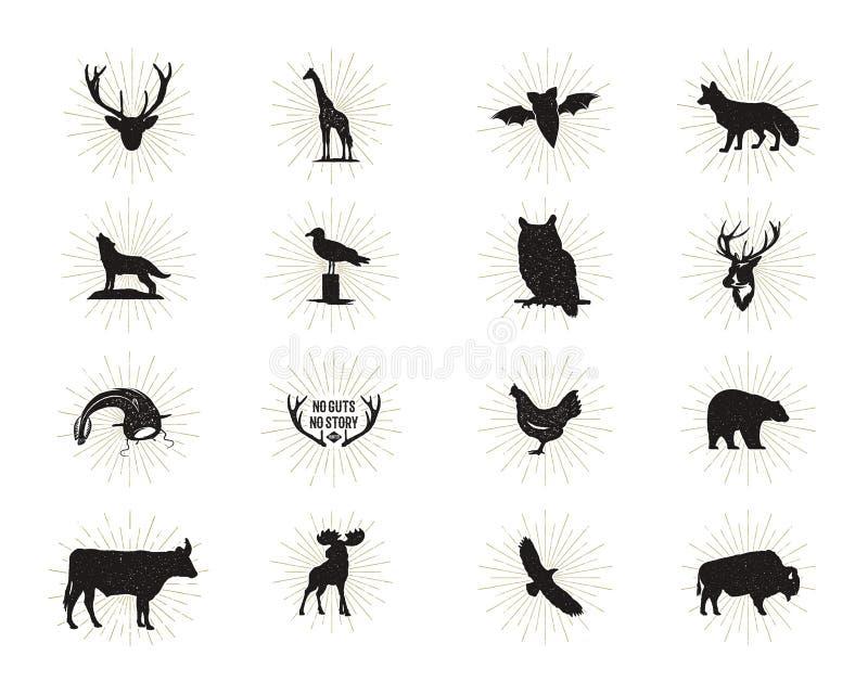 Reeks wilde dierlijke die cijfers en vormen met zonnestralen op witte achtergrond worden geïsoleerd Zwarte silhouettenwolf, herte royalty-vrije illustratie