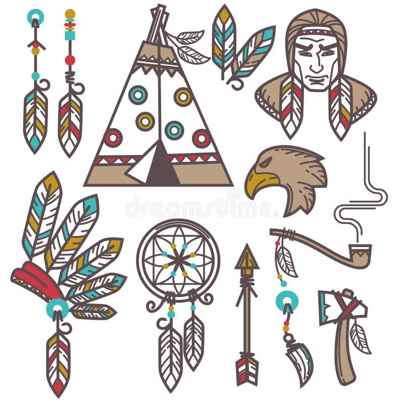 Reeks wilde het westen Amerikaanse Indische ontworpen elementen stock illustratie